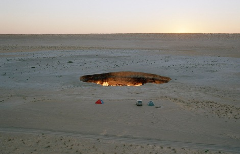 Flaming Gas Crater in Darvaza Turkmenistan